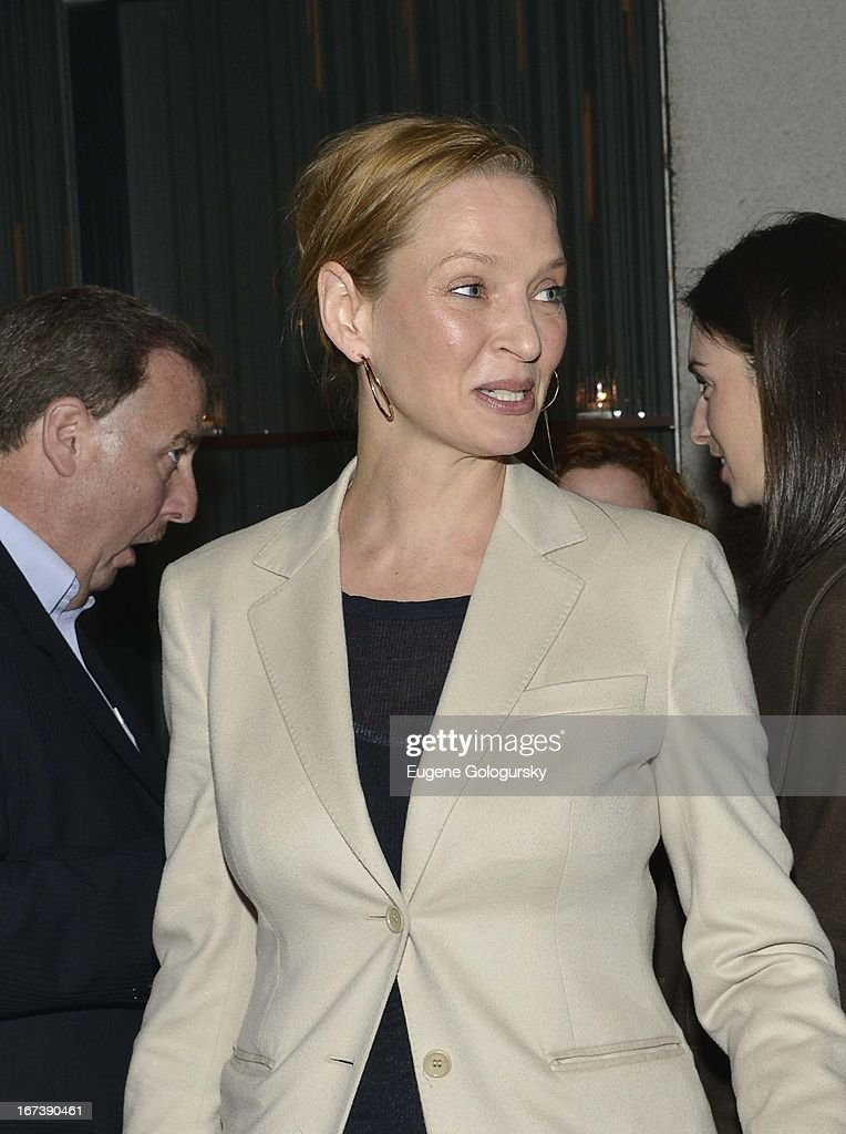 <a gi-track='captionPersonalityLinkClicked' href=/galleries/search?phrase=Uma+Thurman&family=editorial&specificpeople=171973 ng-click='$event.stopPropagation()'>Uma Thurman</a> attends the after party for the screening of 'Battle of amfAR' during the 2013 Tribeca Film Festival at Colicchio & Sons on April 24, 2013 in New York City.