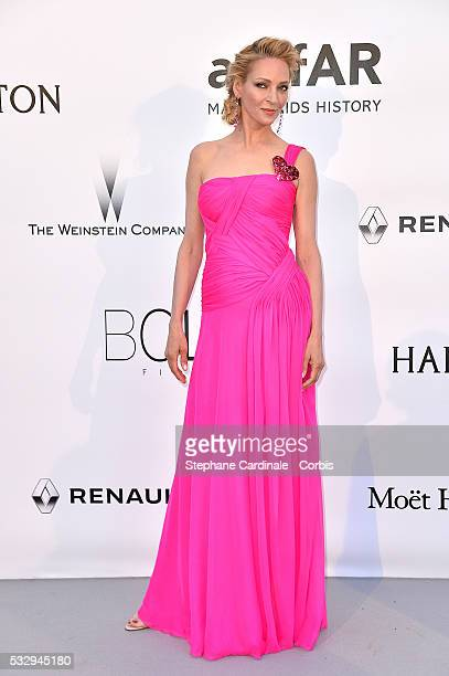 Uma Thurman attends the amfAR's 23rd Cinema Against AIDS Gala at the annual 69th Cannes Film Festival at Hotel du CapEdenRoc on May 19 2016 in Cap...
