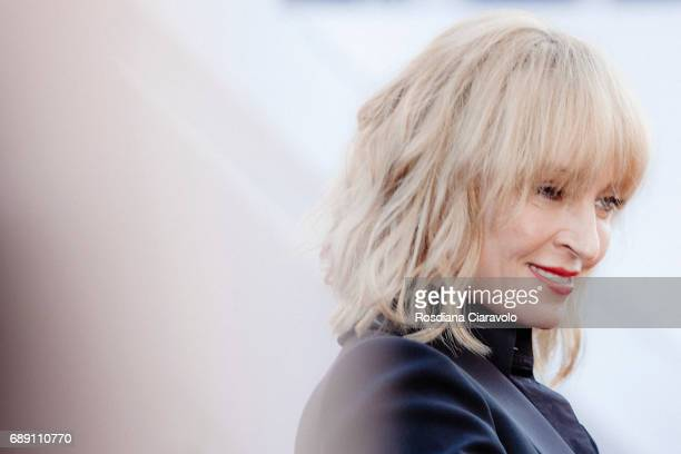 Uma Thurman attends the 'Based On A True Story' screening during the 70th annual Cannes Film Festival at Palais des Festivals on May 27 2017 in...