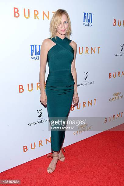 Uma Thurman attends the 'Burnt' premiere at The Museum of Modern Art on October 20 2015 in New York City
