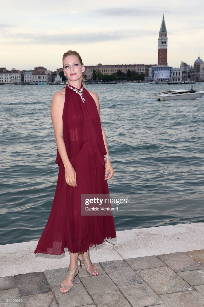<a gi-track='captionPersonalityLinkClicked' href=/galleries/search?phrase=Uma+Thurman&family=editorial&specificpeople=171973 ng-click='$event.stopPropagation()'>Uma Thurman</a> attends the Chopard And Vanity Fair Present 'Backstage At Cinecitta' Exhibition - Red Carpet - 71st Venice Film Festival at Cipriani Hotel on August 31, 2014 in Venice, Italy.