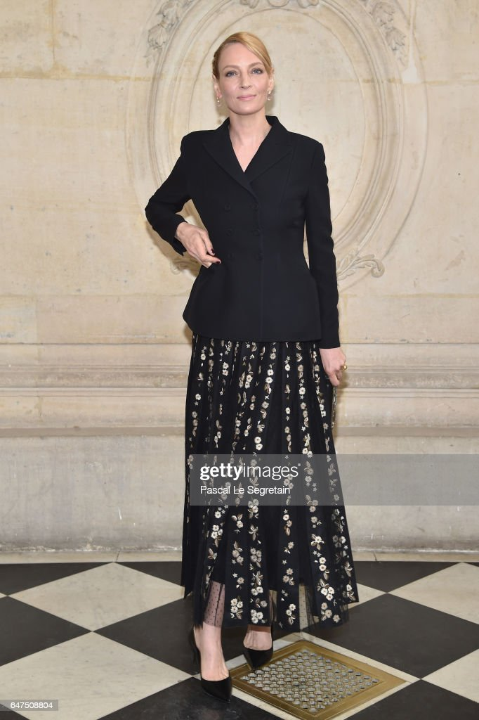 Uma Thurman attends the Christian Dior show as part of the Paris Fashion Week Womenswear Fall/Winter 2017/2018 at Musee Rodin on March 3, 2017 in Paris, France.