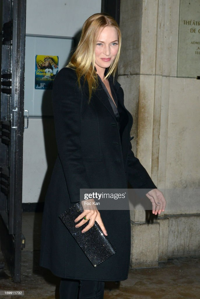 <a gi-track='captionPersonalityLinkClicked' href=/galleries/search?phrase=Uma+Thurman&family=editorial&specificpeople=171973 ng-click='$event.stopPropagation()'>Uma Thurman</a> attends the Giorgio Armani Prive Spring/Summer 2013 Haute-Couture show as part of Paris Fashion Week at Theatre National de Chaillot on January 22, 2013 in Paris, France.