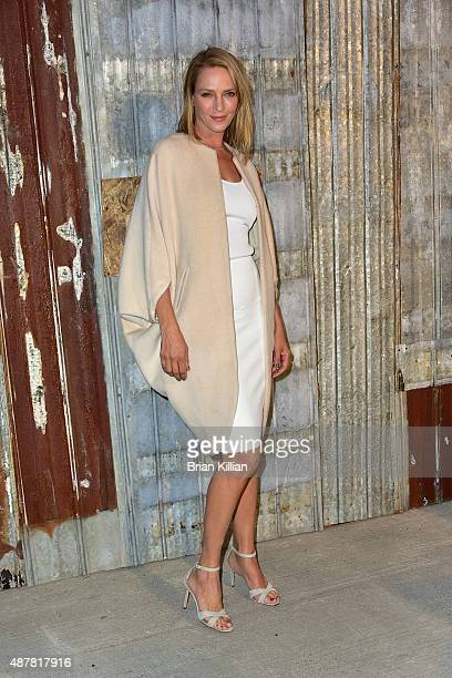 Uma Thurman attends the Givenchy show during Spring 2016 New York Fashion Week at Pier 26 on September 11 2015 in New York City