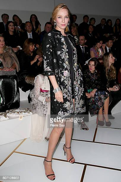 Uma Thurman attends the Guo Pei Spring Summer 2016 show as part of Paris Fashion Week on January 27 2016 in Paris France