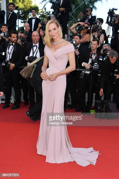 Uma Thurman attends the 'Ismael's Ghosts ' screening and Opening Gala during the 70th annual Cannes Film Festival at Palais des Festivals on May 17...