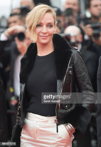 Uma Thurman attends the 'Loveless ' screening during the 70th annual Cannes Film Festival at Palais des Festivals on May 18 2017 in Cannes France
