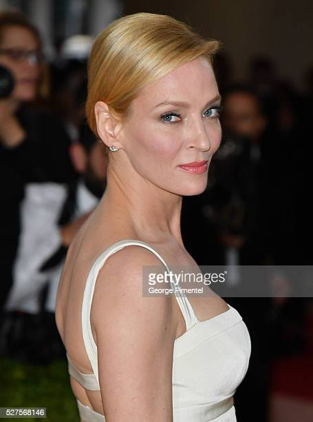 Uma Thurman attends the 'Manus x Machina Fashion in an Age of Technology' Costume Institute Gala at the Metropolitan Museum of Art on May 2 2016 in...