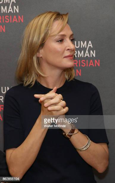 Uma Thurman attends the Meet Greet Photo Call for the cast of Broadway's 'The Parisian Woman' at the New 42nd Street Studios on October 18 2017 in...
