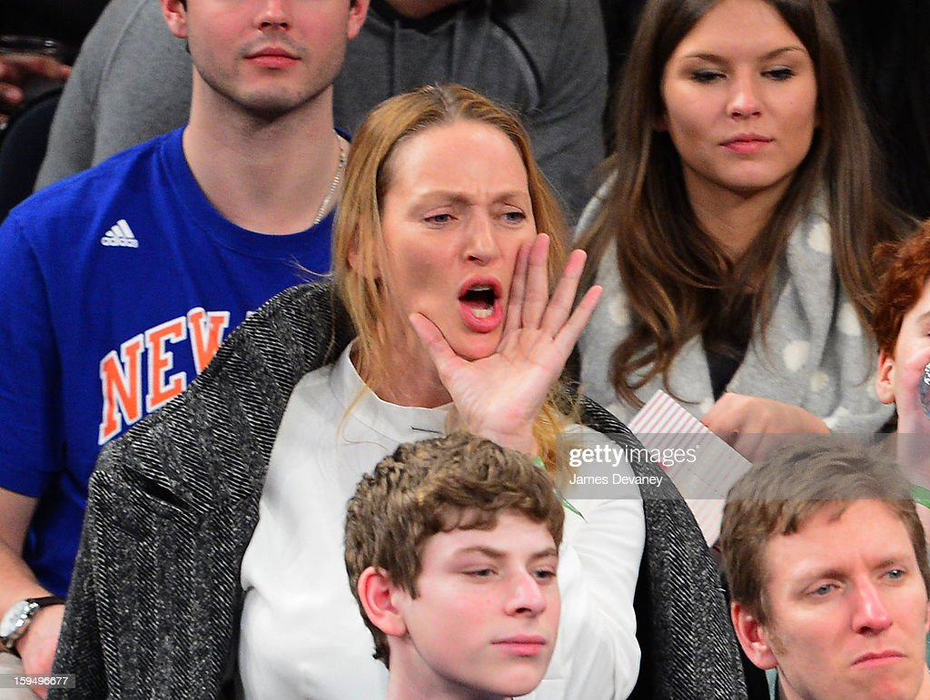 Uma Thurman attends the New Orleans Hornets vs New York Knicks game at Madison Square Garden on January 13, 2013 in New York City.