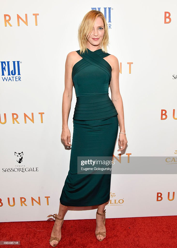 <a gi-track='captionPersonalityLinkClicked' href=/galleries/search?phrase=Uma+Thurman&family=editorial&specificpeople=171973 ng-click='$event.stopPropagation()'>Uma Thurman</a> attends The New York Premiere Of BURNT, Presented By The Weinstein Company And FIJI Water at MOMA on October 20, 2015 in New York City.