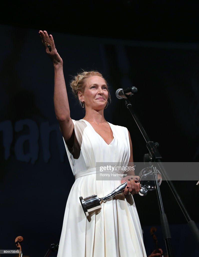 Uma Thurman attends the opening ceremony of the 52st Karlovy Vary International Film Festival (KVIFF) on June 30, 2017 in Karlovy Vary, Czech Republic.