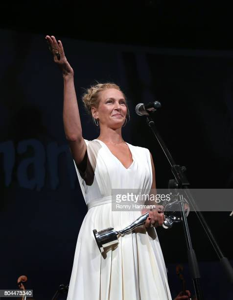 Uma Thurman attends the opening ceremony of the 52st Karlovy Vary International Film Festival on June 30 2017 in Karlovy Vary Czech Republic