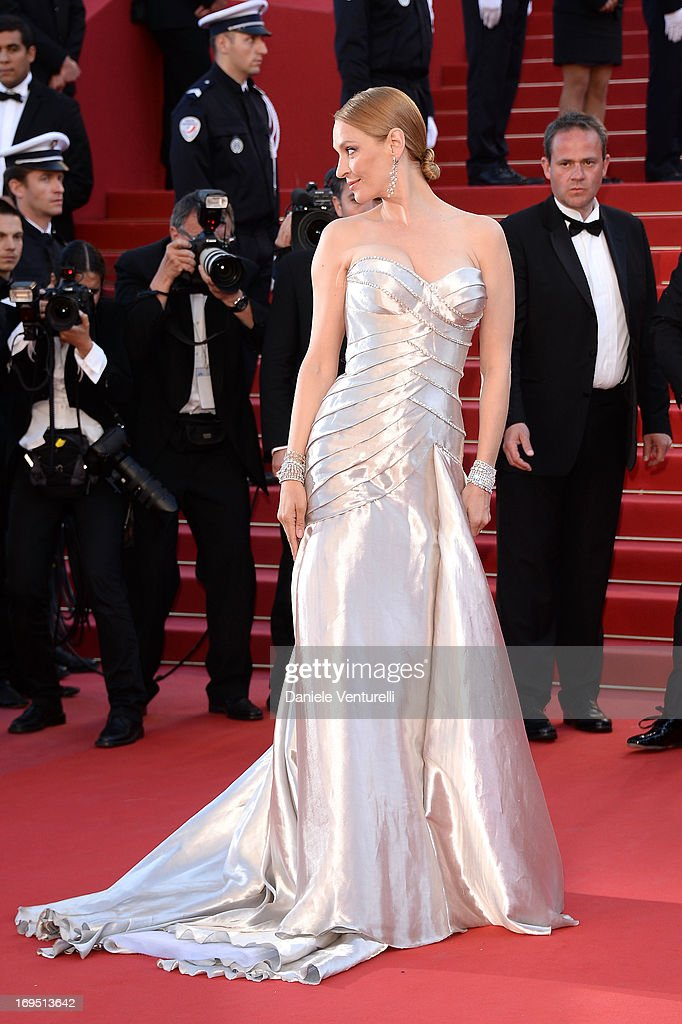 <a gi-track='captionPersonalityLinkClicked' href=/galleries/search?phrase=Uma+Thurman&family=editorial&specificpeople=171973 ng-click='$event.stopPropagation()'>Uma Thurman</a> attends the Premiere of 'Zulu' and the Closing Ceremony of The 66th Annual Cannes Film Festival at Palais des Festivals on May 26, 2013 in Cannes, France.