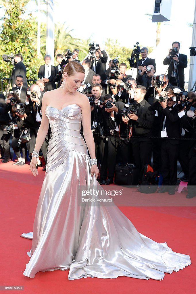 Uma Thurman attends the Premiere of 'Zulu' and the Closing Ceremony of The 66th Annual Cannes Film Festival at Palais des Festivals on May 26 2013 in...