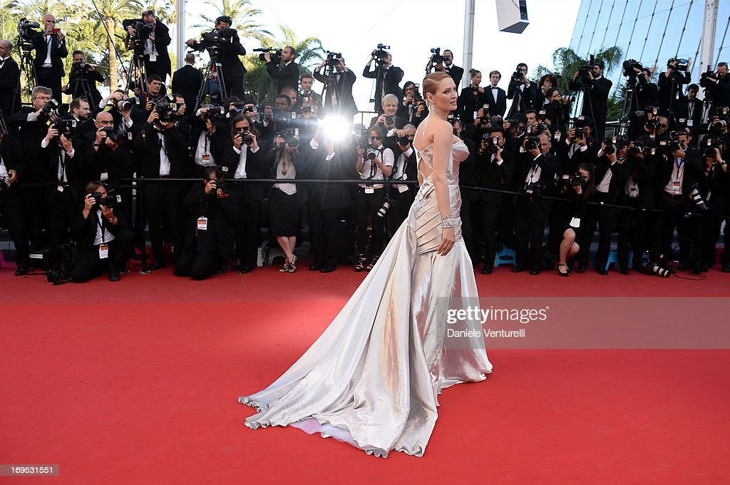 Uma Thurman attends the Premiere of 'Zulu' and the Closing Ceremony of The 66th Annual Cannes Film Festival on May 26, 2013 in Cannes, France.