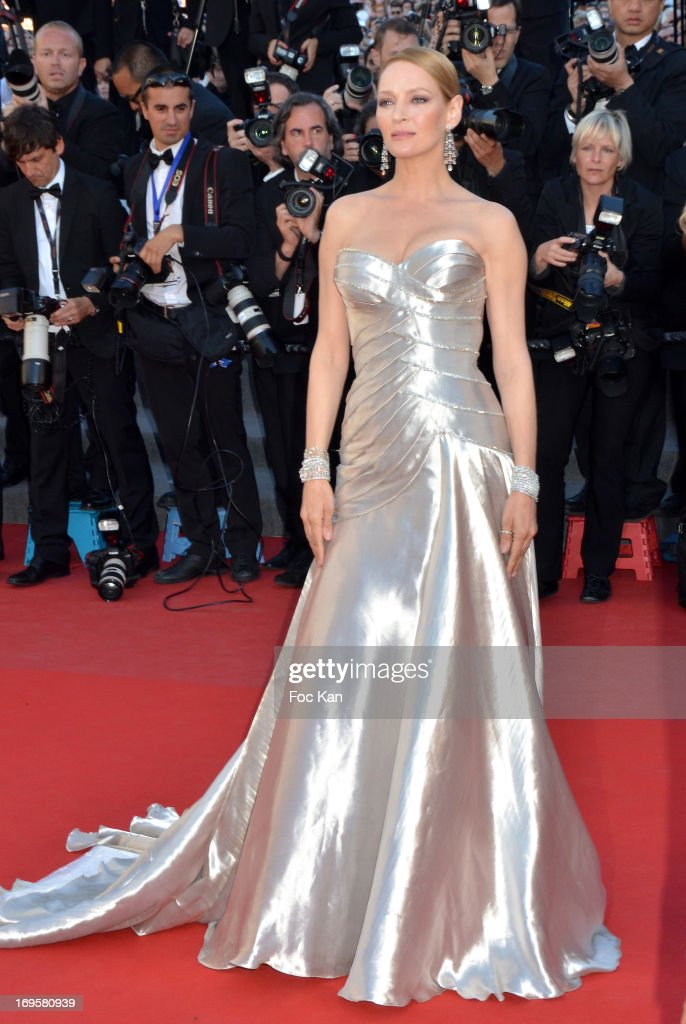 Uma Thurman attends the Premiere of 'Zulu' and the Closing Ceremony of The 66th Annual Cannes Film Festival at Palais des Festivals on May 26, 2013 in Cannes, France.