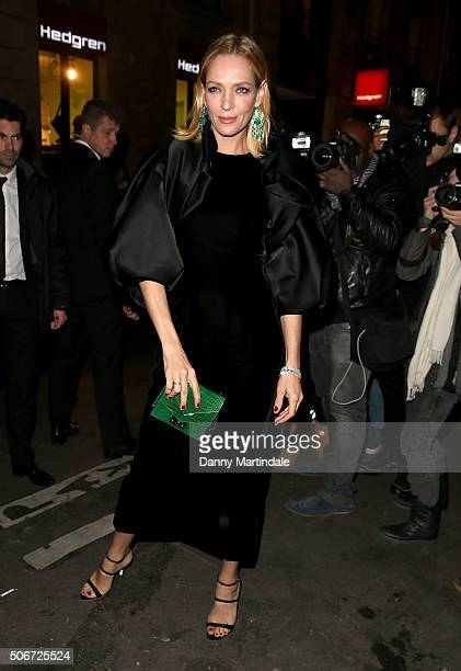 Uma Thurman attends the Ralph Russo Haute Couture Spring Summer 2016 show as part of Paris Fashion Week on January 25 2016 in Paris France on January...