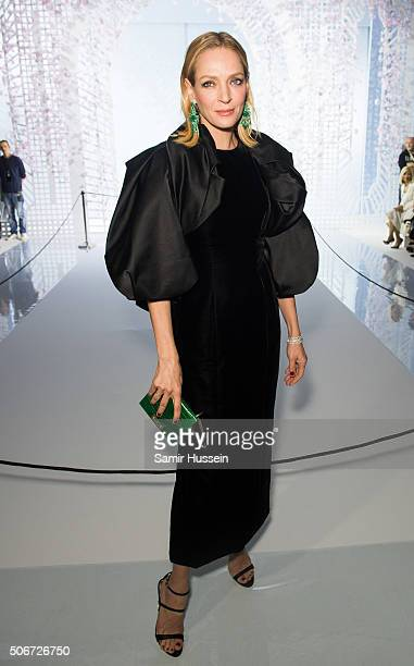 Uma Thurman attends the Ralph Russo Haute Couture Spring Summer 2016 show as part of Paris Fashion Week on January 25 2016 in Paris France