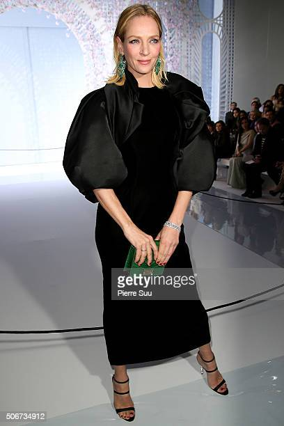 Uma Thurman attends the Ralph Russo Spring Summer 2016 show as part of Paris Fashion Week on January 25 2016 in Paris France