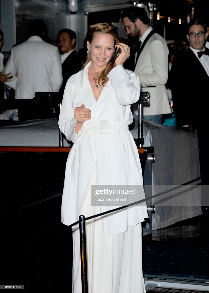 <a gi-track='captionPersonalityLinkClicked' href=/galleries/search?phrase=Uma+Thurman&family=editorial&specificpeople=171973 ng-click='$event.stopPropagation()'>Uma Thurman</a> attends the Roberto Cavalli Yacht Party during The 66th Annual Cannes Film Festival on May 22, 2013 in Cannes, France.