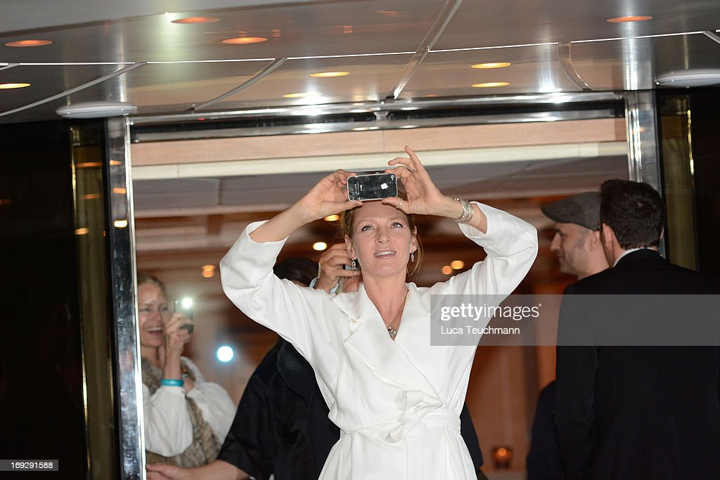 Uma Thurman attends the Roberto Cavalli Yacht Party during The 66th Annual Cannes Film Festival on May 22, 2013 in Cannes, France.