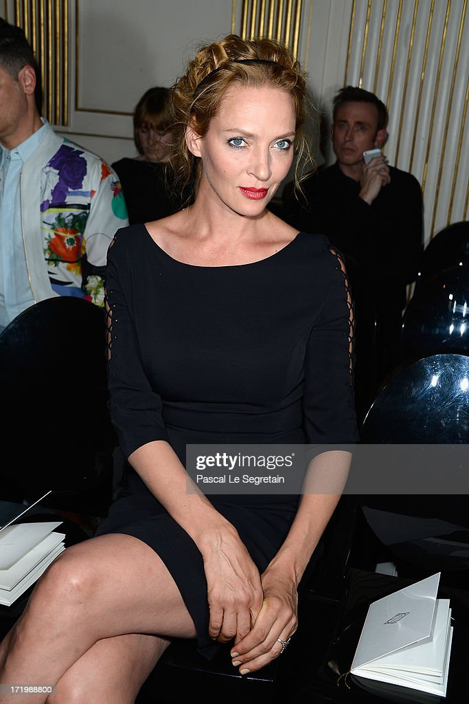 Uma Thurman attends the Versace show as part of Paris Fashion Week Haute-Couture Fall/Winter 2013-2014 at on June 30, 2013 in Paris, France.