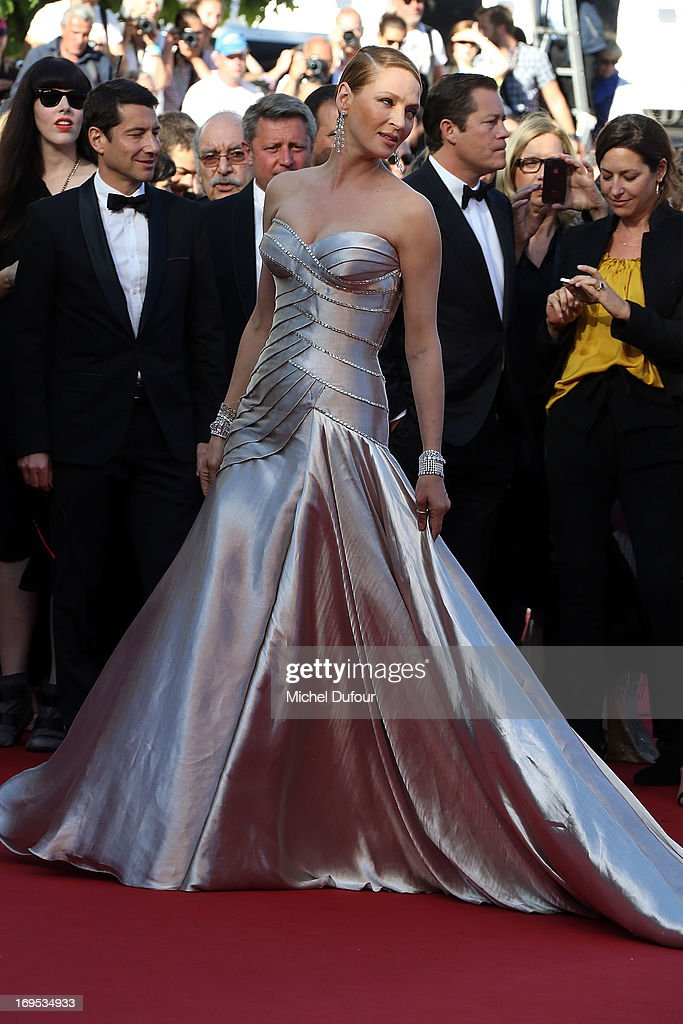Uma Thurman attends the 'Zulu' Premiere and Closing Ceremony during the 66th Annual Cannes Film Festival at the Palais des Festival on May 26 2013 in...