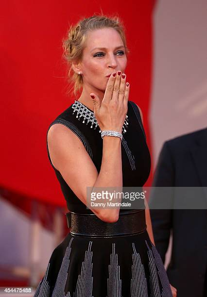 Uma Thurman blows a kiss to the crowd at the 'Nymphomaniac Volume 2 Directors Cut' Premiere during the 71st Venice Film Festival on September 1 2014...