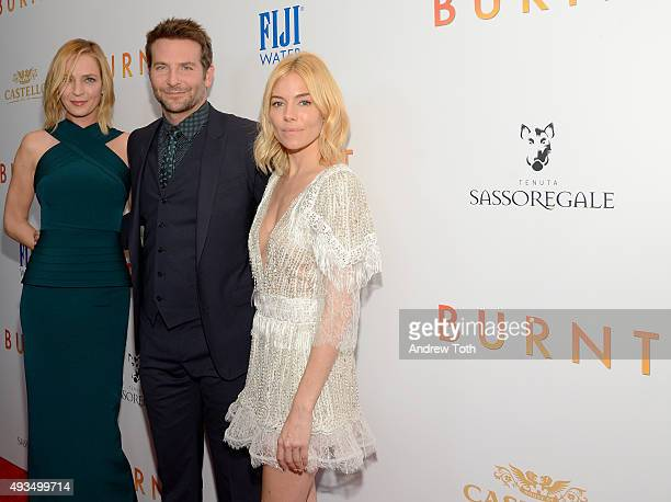 Uma Thurman Bradley Cooper and Sienna Miller attend The New York premiere of 'BURNT' presented by The Weinstein Company Sassoregale Wine Castello...