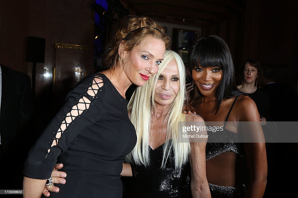 Uma Thurman , Donatella Versace and Naomi Campbell backstage after the Versace show as part of Paris Fashion Week Haute-Couture Fall/Winter 2013-2014 at on June 30, 2013 in Paris, France.