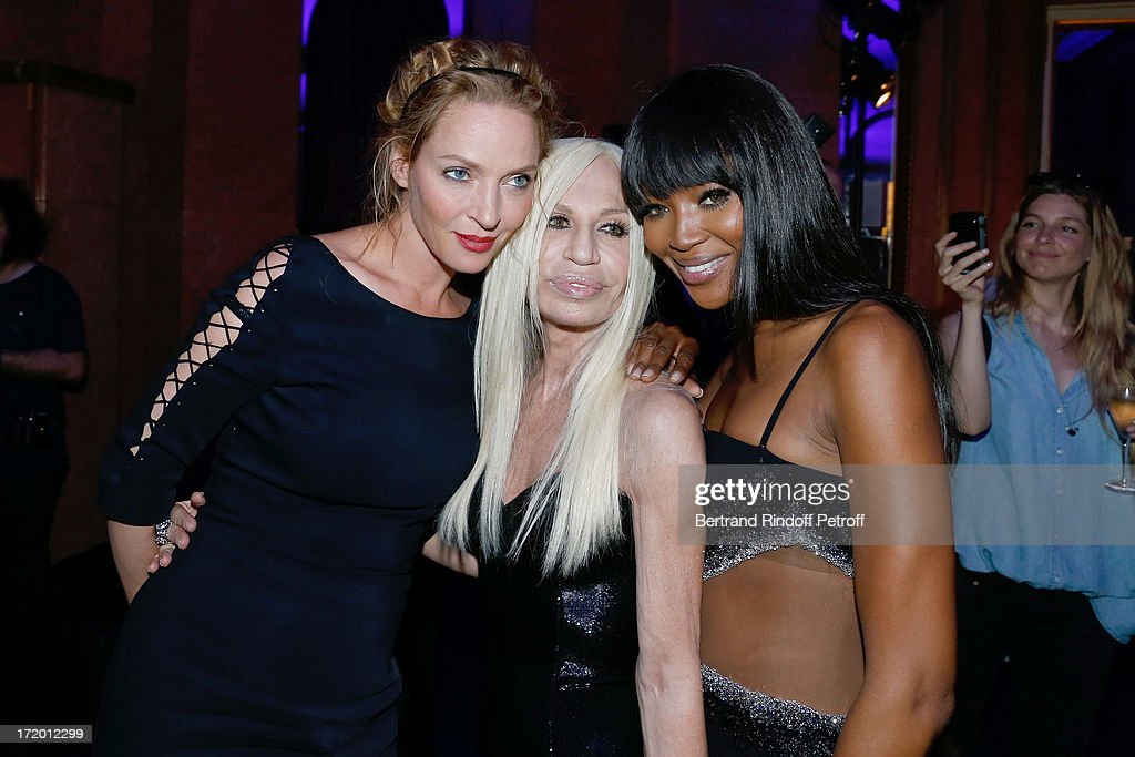 Uma Thurman, Donnatella Versace and Naomi Campbell backstage at Versace show as part of Paris Fashion Week Haute-Couture Fall/Winter 2013-2014 at on June 30, 2013 in Paris, France.