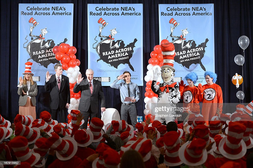 Uma Thurman, Dr. Anthony W. Marx, Denis Van Rickel, and Jake T. Austin Join Cat In The Hat On NEA's Read Across America Day at New York Public Library on March 1, 2013 in New York City.
