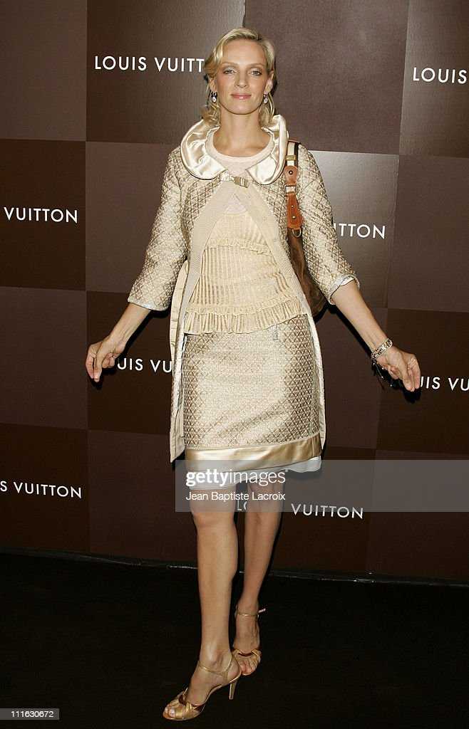 Uma Thurman during Louis Vuitton ChampsElysees Flagship Store Opening Party at Louis Vuitton Store ChampsElysees in Paris France
