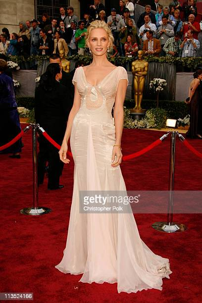 Uma Thurman during The 78th Annual Academy Awards – Arrivals at Kodak Theatre in Hollywood California United States