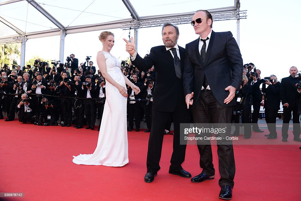 Uma Thurman, Franco Nero And Quentin Tarentino at the Closing ceremony and 'A Fistful of Dollars' screening during 67th Cannes Film Festival