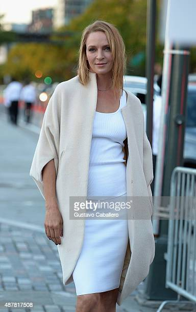 Uma Thurman is seen around Spring 2016 New York Fashion Week The Shows Day 2 on September 11 2015 in New York City