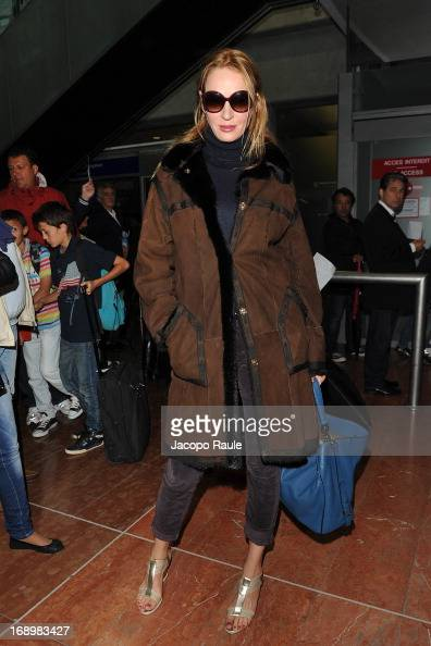 Uma Thurman is seen arriving at Nice airport during The 66th Annual Cannes Film Festival on May 18 2013 in Nice France
