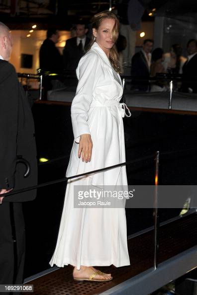 Uma Thurman is seen arriving at Roberto Cavalli's Party during The 66th Annual Cannes Film Festival on May 22 2013 in Cannes France