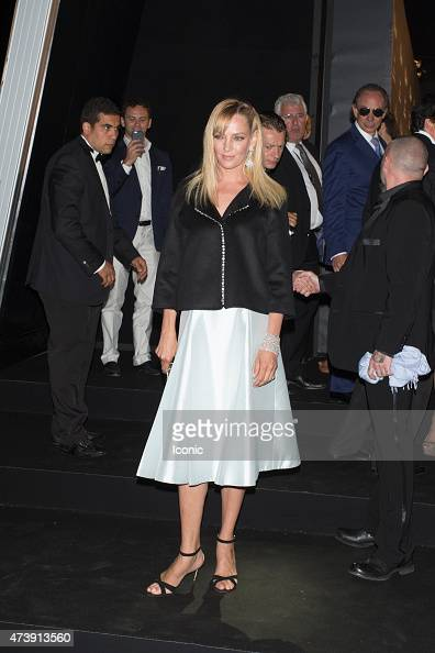 Uma Thurman is seen attending at Chopard Party during The 68th Annual Cannes Film Festival on May 18 2015 in Cannes France