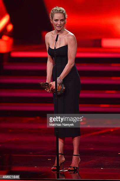 Uma Thurman is seen on stage during the Bambi Awards 2014 show on November 13 2014 in Berlin Germany