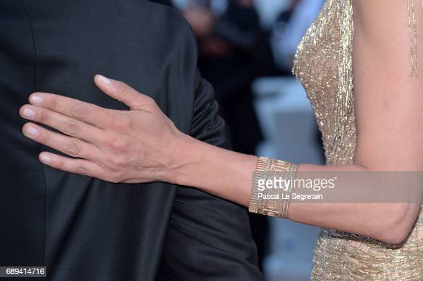 Uma Thurman jewelry detail attends the Closing Ceremony of the 70th annual Cannes Film Festival at Palais des Festivals on May 28 2017 in Cannes...