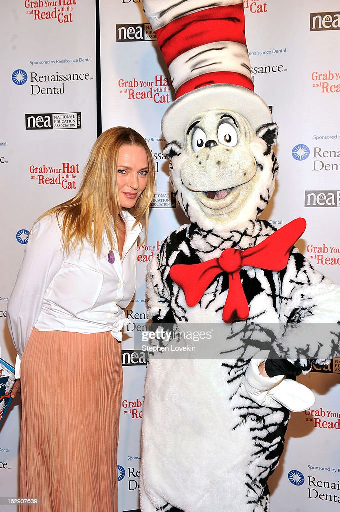 Uma Thurman And Jake T. Austin Join Cat In The Hat On NEA's Read Across America Day