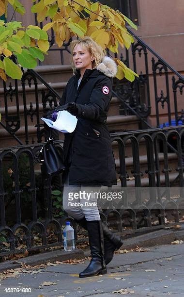 Uma Thurman on the set of 'The Slap' on November 10 2014 in New York City