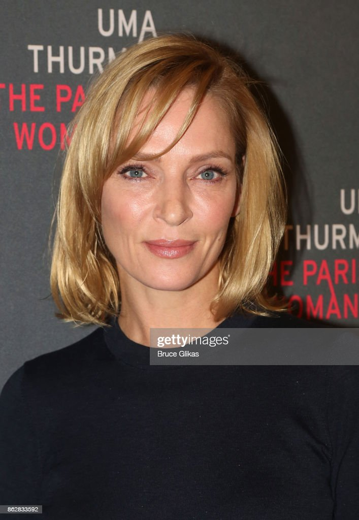 Uma Thurman poses at a press meet & greet for her new broadway play 'The Parisian Woman' at The New 42nd Street Studios on October 18, 2017 in New York City.