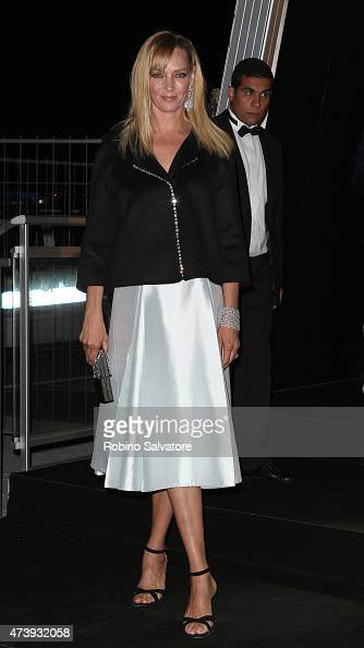 CANNES FRANCE MAY 18 Uma Thurman sighted at the Chopard GOLD party in Cannes 2015 May 18 in Cannes France