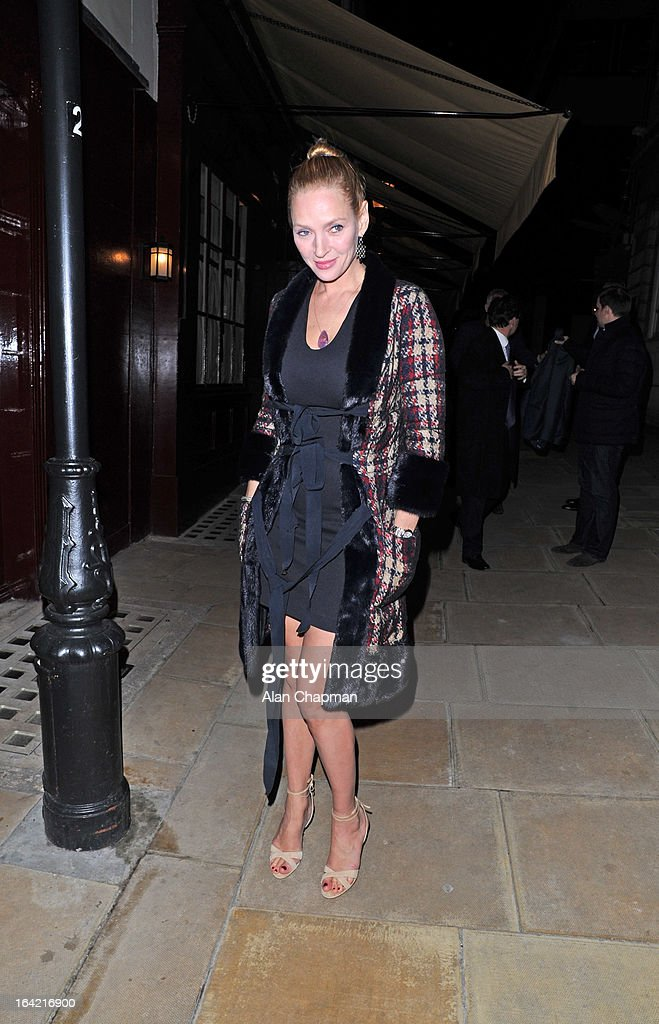 <a gi-track='captionPersonalityLinkClicked' href=/galleries/search?phrase=Uma+Thurman&family=editorial&specificpeople=171973 ng-click='$event.stopPropagation()'>Uma Thurman</a> sighting leaving Loulou's on March 20, 2013 in London, England.