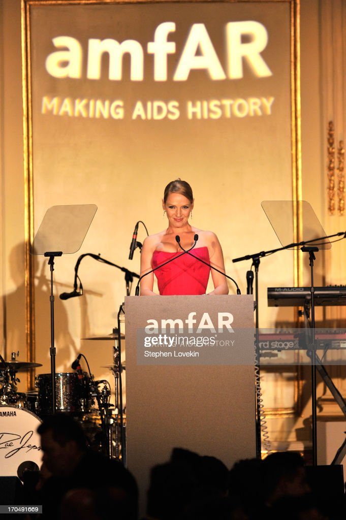 <a gi-track='captionPersonalityLinkClicked' href=/galleries/search?phrase=Uma+Thurman&family=editorial&specificpeople=171973 ng-click='$event.stopPropagation()'>Uma Thurman</a> speaks on stage during the 4th Annual amfAR Inspiration Gala New York at The Plaza Hotel on June 13, 2013 in New York City.