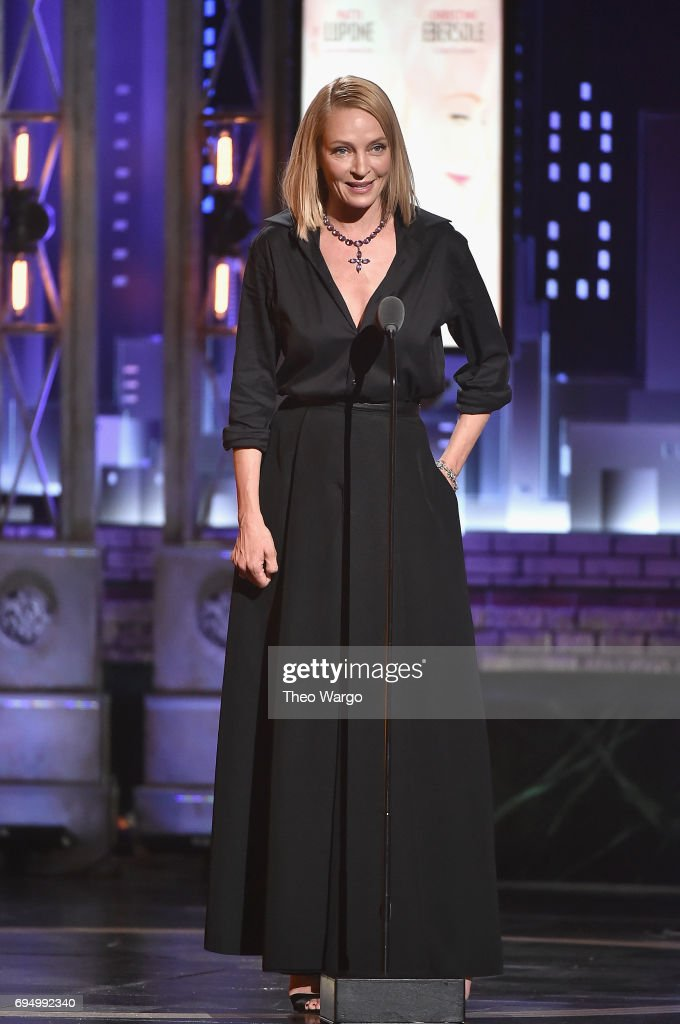 Uma Thurman speaks onstage during the 2017 Tony Awards at Radio City Music Hall on June 11, 2017 in New York City.