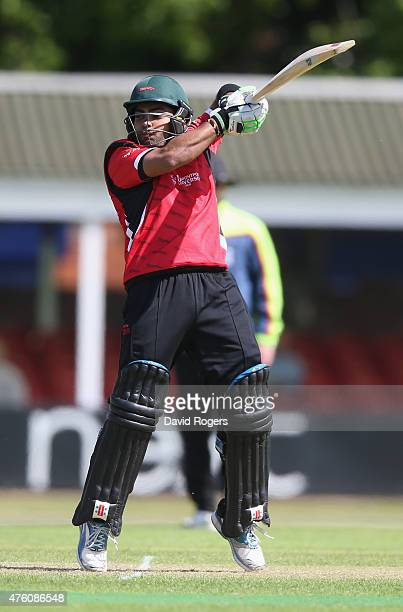 Umar Akmal of Leicestershire scores four runs during the tour match between Leicestershire and New Zealand at Grace Road on June 6 2015 in Leicester...